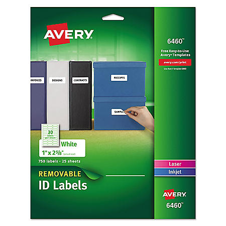 Avery Removable Print-or-Write Multi-Use Labels w/ Sure Feed