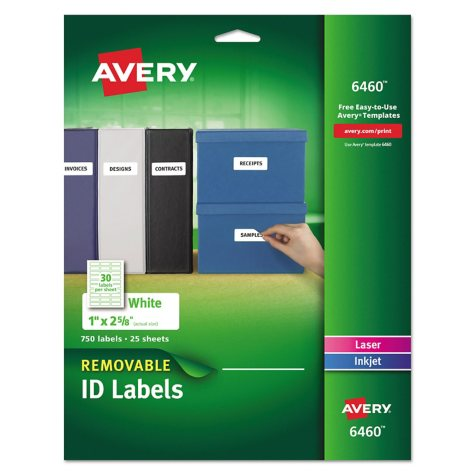 """Avery 6460 - Removable Labels, Laser or Inkjet, 1 x 2-5/8"""", White - 750 Labels"""