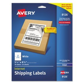 Avery Shipping Labels w/ TrueBlock Technology, Inkjet Printers, 5.5 x 8.5, White, 2/Sheet, 25 Sheets/Pack
