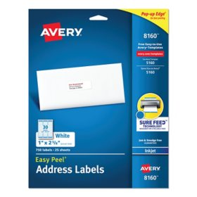 Avery Easy Peel White Address Labels w/ Sure Feed Technology, Inkjet Printers, 1 x 2.63, White, 30/Sheet, 25 Sheets/Pack