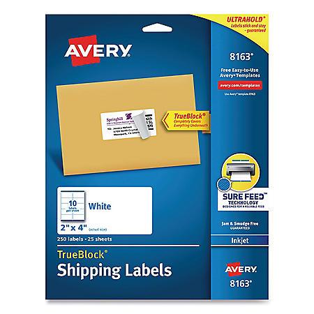 Avery Shipping Labels w/ TrueBlock Technology, Inkjet Printers, 2 x 4, White, 10/Sheet, 25 Sheets/Pack