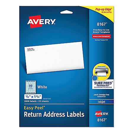 Avery Easy Peel White Address Labels w/ Sure Feed Technology, Inkjet Printers, 0.5 x 1.75, White, 80/Sheet, 25 Sheets/Pack