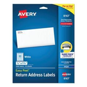 "Avery 8167 Inkjet Return Address Labels - 1/2 x 1-3/4"" - White - 2,000 ct."