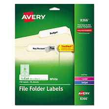 Avery 1/3 Tab File Folder Labels, White, 750 Labels