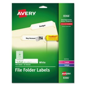 Avery 1/3 Tab File Folder Labels, White (750 ct.)