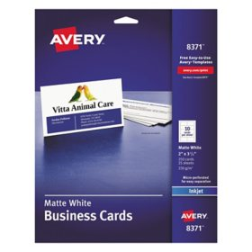 Avery Printable Microperforated Business Cards with Sure Feed Technology, Inkjet, 2 x 3.5, White, Matte, 250/Pack