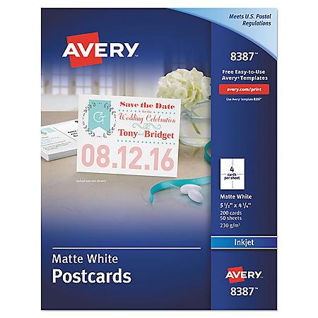 Avery Postcards for Inkjet Printers, 4 1/4 x 5 1/2, Matte White, 4/Sheet, 200/Box
