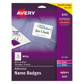 Avery Flexible Adhesive Name Badge Labels, 2 1/3 x 3 3/8, White, 160/PK