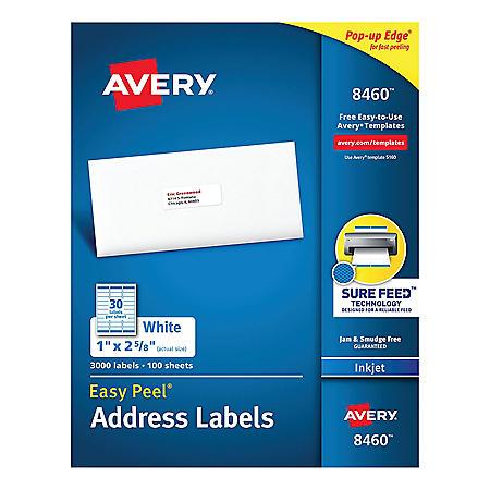 Avery Easy Peel White Address Labels w/ Sure Feed Technology, Inkjet Printers, 1 x 2.63, White, 30/Sheet, 100 Sheets/Box