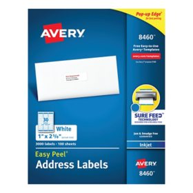 Avery Easy Peel White Address Labels w/ Sure Feed Technology, Inkjet Printers, 1 x 2.63, White, 30/Sheet, 100 Sheets/Box