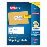 Avery Shipping Labels w/ TrueBlock Technology, Inkjet Printers, 2 x 4, White, 10/Sheet, 100 Sheets/Box