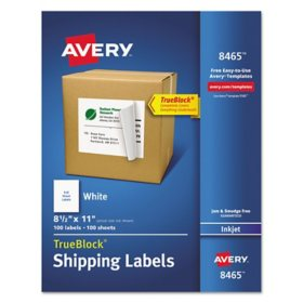 Avery Shipping Labels with TrueBlock Technology, Inkjet Printers, 8.5 x 11, White, 100/Box