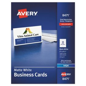 Avery Printable Microperf Business Cards, Inkjet, 2 x 3 1/2, White, Matte, 1000/Box