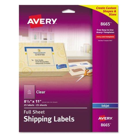 Avery - Full-Sheet Inkjet Labels, 8-1/2 x 11, Clear -  25/Pack