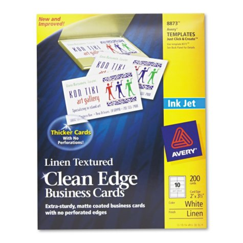 Avery 8873 - Clean Edge Business Cards, Inkjet, Linen Textured - 200 Cards