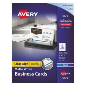Avery True Print Clean Edge Business Cards, Inkjet, 2 x 3 1/2, White, 1000/Box