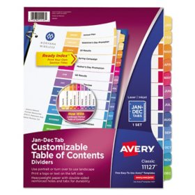 Avery Customizable TOC Ready Index Multicolor Dividers, 12-Tab, Letter
