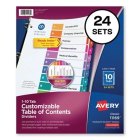 Avery Customizable TOC Ready Index Multicolor Dividers, 10-Tab, Letter, 24 Sets