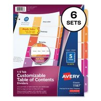 Avery Customizable TOC Ready Index Multicolor Dividers, 5-Tab, Letter, 6 Sets