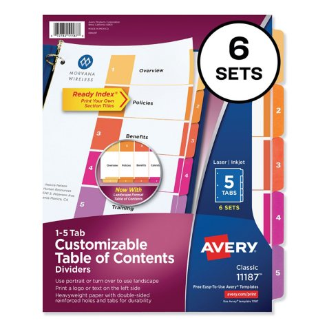 Avery - Ready Index Table Of Contents Dividers, Multicolor - 6 Sets