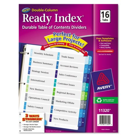 Avery Ready Index Customizable Table of Contents Double Column Dividers, Letter, 16-Tab, 1 Set