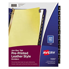 Avery  Black Leather Tab Dividers, Select Type