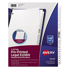 Avery Style Legal Side Tab Divider, Letter Size, Numbered, White