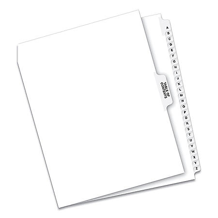 Avery Preprinted Legal Exhibit Side Tab Index Dividers, Avery Style, 27-Tab, A to Z, 11 x 8.5, White, 1 Set