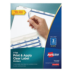 Avery Index Maker Clear Label Dividers, 3 Tabs, 25 Sets