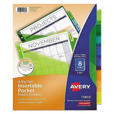 photo regarding Avery Printable Tabs titled Avery Insertable Substantial Tab Plastic Dividers w/One Pockets, 8-Tab, 11 1/8 x 9 1/4