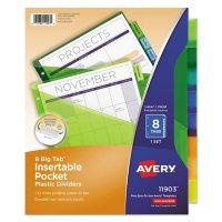 Avery Insertable Big Tab Plastic 1-Pocket Dividers, 8-Tab, 11.13 x 9.25, Assorted, 1 Set