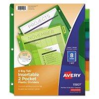 Avery Insertable Big Tab Plastic 2-Pocket Dividers, 8-Tab, 11.13 x 9.25, Assorted, 1 Set