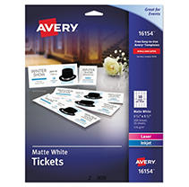 Avery - Printable Tickets w/Tear-Away Stubs, 1-3/4 x 5-1/2, Matte White - 200 Tickets/Pk