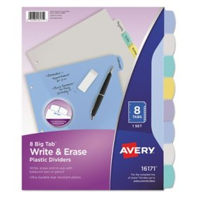 Avery Write & Erase Big Tab Plastic Dividers, 8-Tab, Multicolor, Letter