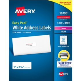 "Avery Easy Peel Address Labels, Sure Feed Technology, Permanent Adhesive, 1"" x 2-5/8"", 3750 Labels"