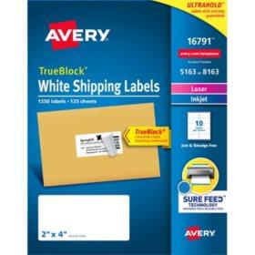 "Avery 5163/8163 TrueBlock Shipping Labels, 2 x 4""- 1250 Labels"