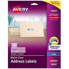 Avery Easy Peel Address Labels, Inkjet, 1 x 2 5/8, Clear, Select Quantity