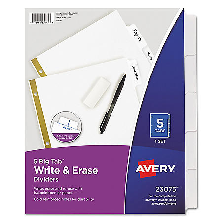 Avery Write & Erase Big Tab Paper Dividers, 5-Tab, White, Letter