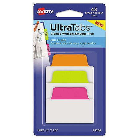 "Avery Ultra Tabs Repositionable Standard Tabs, 1/5-Cut Tabs, Assorted Neon, 2"" Wide, 48/Pack"