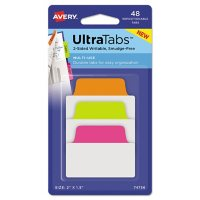 """Avery Ultra Tabs Repositionable Standard Tabs, 1/5-Cut Tabs, Assorted Neon, 2"""" Wide, 48/Pack"""