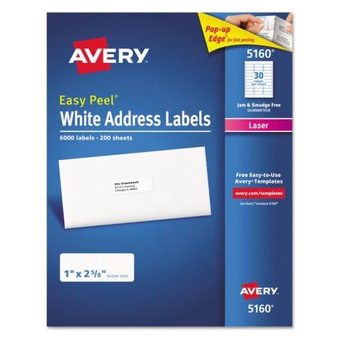 Avery® 5160 Easy Peel Address Labels, Laser, 1 x 2 5/8, White, 6,000 Labels