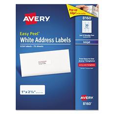 Avery Easy Peel Address Labels, Inkjet, White, 2,250 ct.