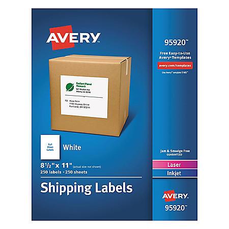 Avery White Shipping Labels-Bulk Packs, Inkjet/Laser Printers, 8.5 x 11, White, 250/Box