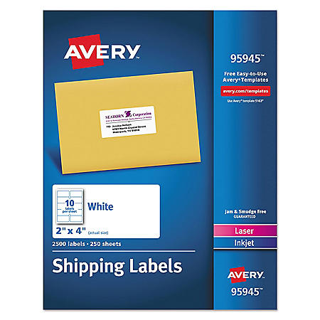 Avery White Shipping Labels-Bulk Packs, Inkjet/Laser Printers, 2 x 4, White, 10/Sheet, 250 Sheets/Box