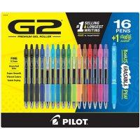 Pilot G2 Gel Ink Pens, Fine Point, Assorted Colors, 16 Count