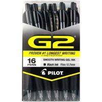 Pilot G2 Retractable Roller Ball Gel Pens, Select Color (Fine, 16 ct.)