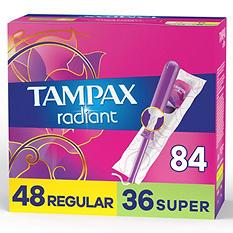 Tampax Radiant Duopack Tampons, Regular/Super (84 ct.)