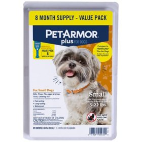 PetArmor Plus Flea and Tick Prevention for Dogs, 8 ct. (Choose Your Size)