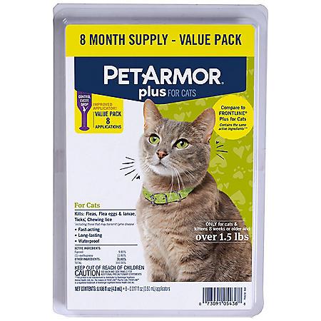 PetArmor Plus Flea & Tick Protection for Cats, 8 ct.