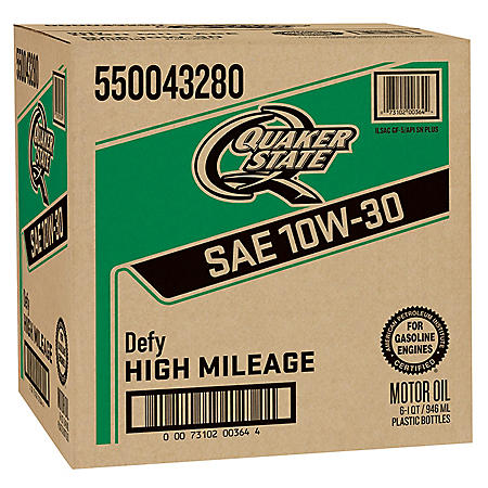 Quaker State High Mileage SAE 10W-30 Motor Oil (6-pack/1 quart bottles)